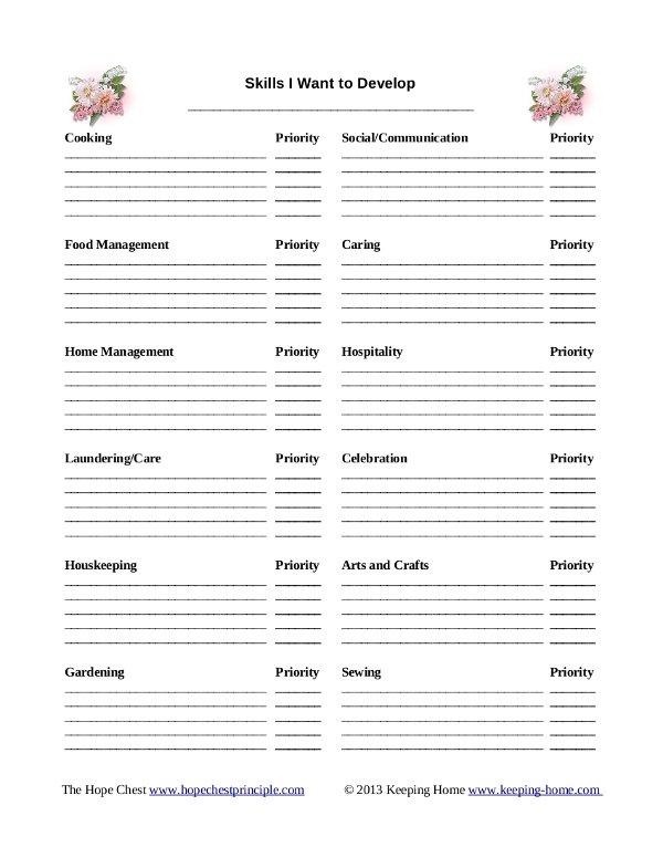 Skills I Want Printable {Free Printable}